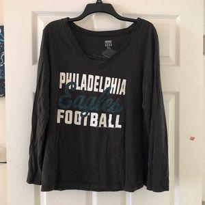 Philadelphia Eagles Football Long Sleeve VNeck Top